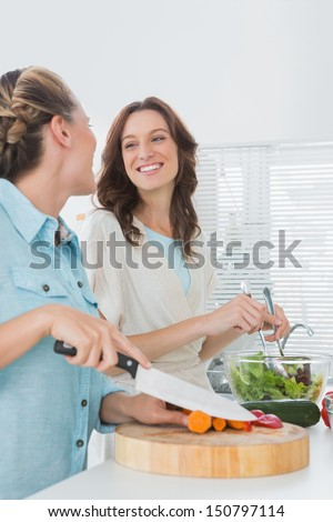 Pretty women preparing salad together in the kitchen  - stock photo
