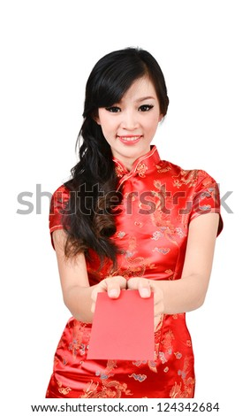 pretty women with cheongsam ,In Chinese new year a red packet is a monetary gift - stock photo