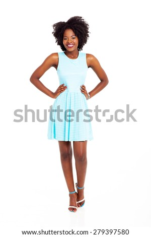 pretty young black woman in blue dress isolated on white - stock photo