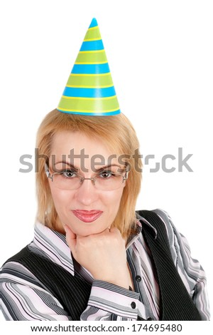 pretty young blond business woman in the birthday cap  - stock photo