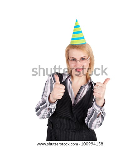 pretty young blond business woman in the birthday cap holding the thumbs up - stock photo