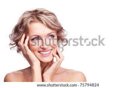 pretty young blond woman with curly hair, looking to the side, copy space for your text to the left - stock photo