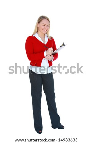Pretty young, blonde office worker holding clipboard, isolated on white. - stock photo