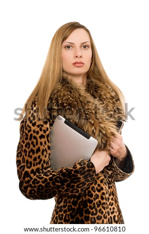 Pretty young blonde with the tablet pc. Isolated - stock photo