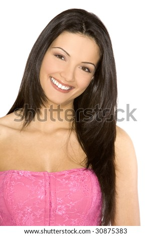 pretty young brunette posing on white isolated background