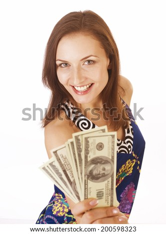 pretty young brunette woman with money cash isolated