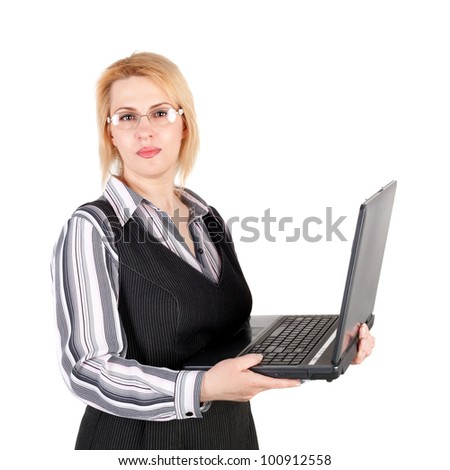 pretty young business woman with the notebook - stock photo