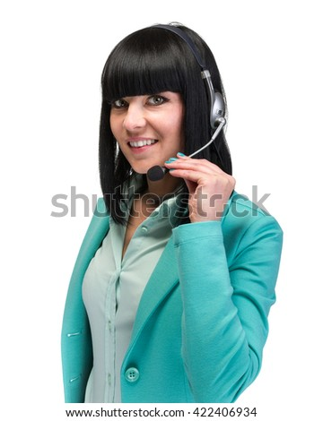 Pretty young call center worker wearing a headset  isolated on white background - stock photo