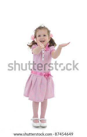 pretty young child girl playing and smiling