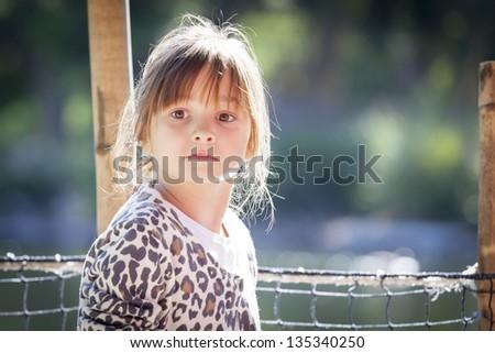 Pretty Young Child Girl Portrait Outside. - stock photo