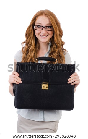 Pretty young employee with briefcase isolated on white - stock photo