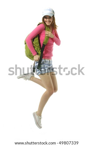 Pretty young female carries backpack
