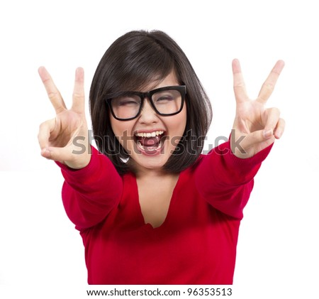 pretty young female making victory sign