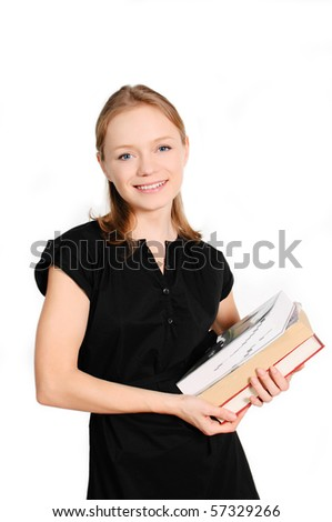 pretty young female student with books isolated on white background