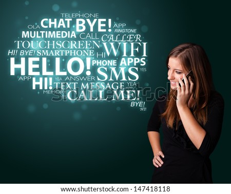 Pretty young girl calling by phone with word cloud - stock photo