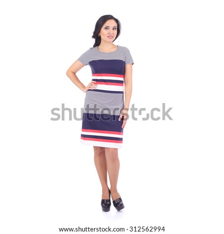 pretty young girl demonstrating a dress
