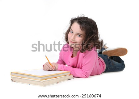 Pretty Young Girl Doing Her Homework In White Background