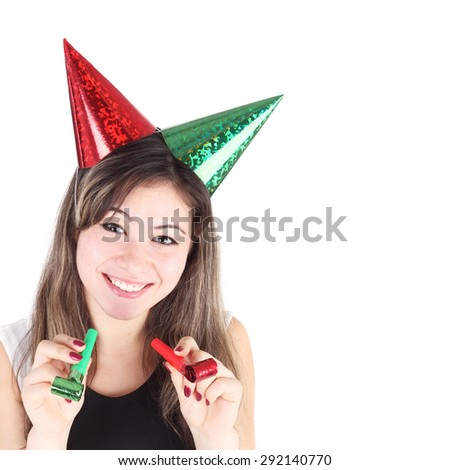 pretty young girl in two holiday caps