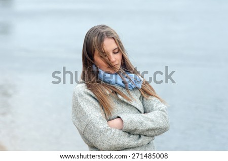 Pretty young girl outdoor - stock photo