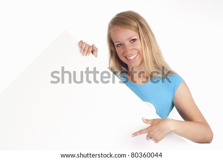 pretty young girl posing on a white