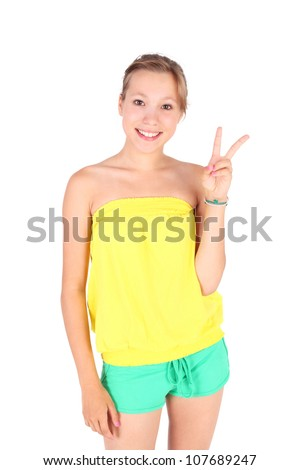 pretty young girl showing the victory sign