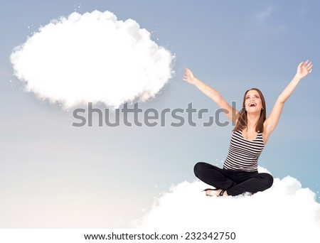 Pretty young girl sitting on cloud and thinking of abstract speech bubble with copy space - stock photo