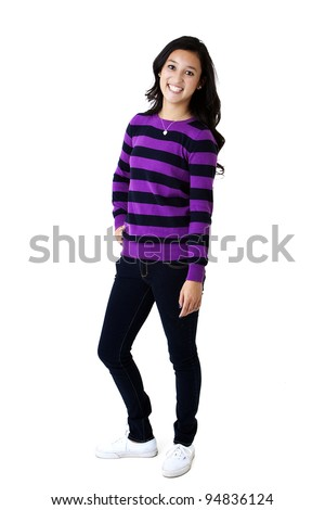 pretty young girl smiling - stock photo