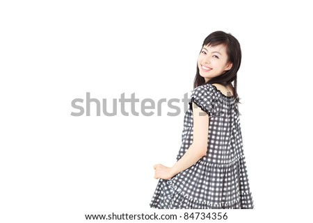 pretty young girl smiling, isolated on white background