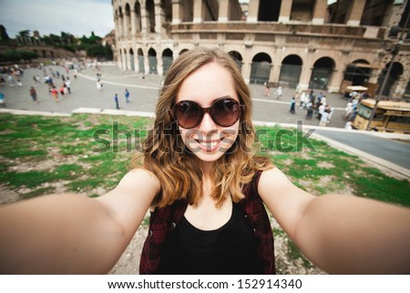 Pretty young girl tourist in Rome, Italy - stock photo