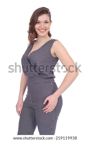 pretty young girl wearing an overall - stock photo