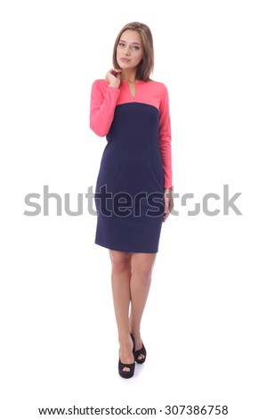 pretty young girl wearing beautiful dress - stock photo