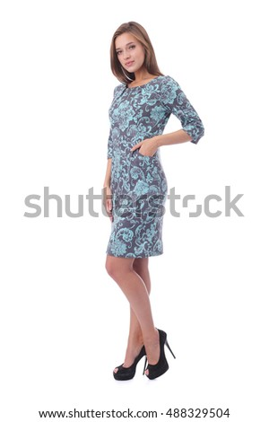 pretty young girl wearing beautiful dress