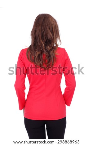 pretty young girl wearing black trousers and red jacket