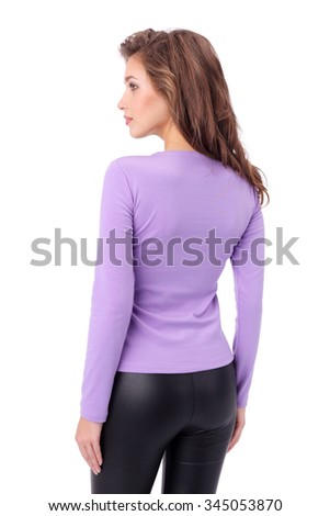 pretty young girl wearing blue and lilac top