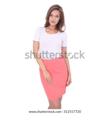 pretty young girl wearing coral short skirt - stock photo
