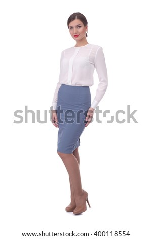 pretty young girl wearing grey formal skirt and white blouse
