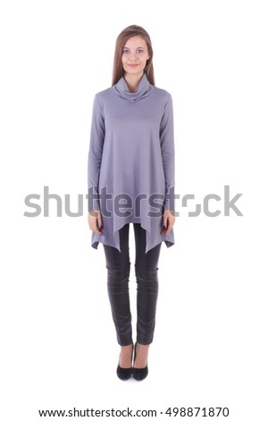 pretty young girl wearing grey knitted tunic