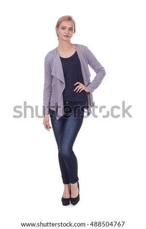 pretty young girl wearing jeans and jacket