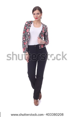 pretty young girl wearing office clothing - stock photo