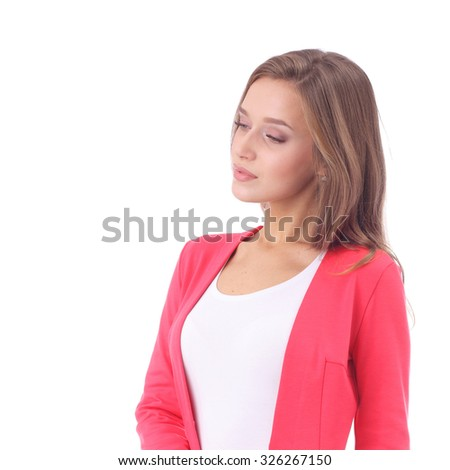 pretty young girl wearing office skirt and cardigan - stock photo