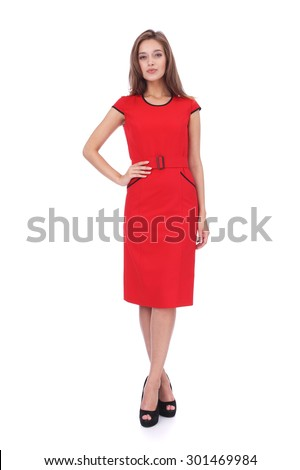 pretty young girl wearing red dress  - stock photo