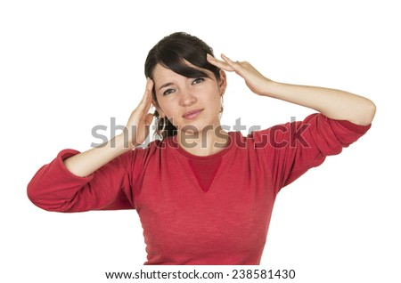 pretty young girl wearing red top posing  gesturing headache isolated on white - stock photo