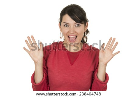 pretty young girl wearing red top posing with hands up gesturing surprise isolated on white - stock photo