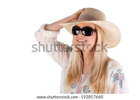 pretty Young Girl with sun hat and sun glasses, isolated on white - stock photo