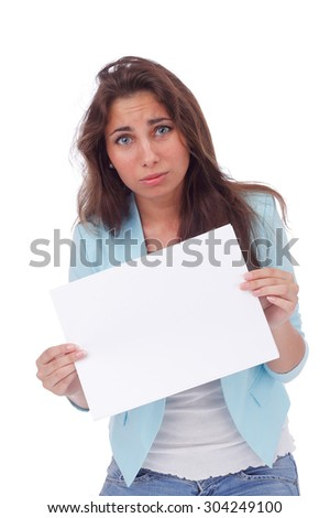 pretty young girl with the blank sheet of paper