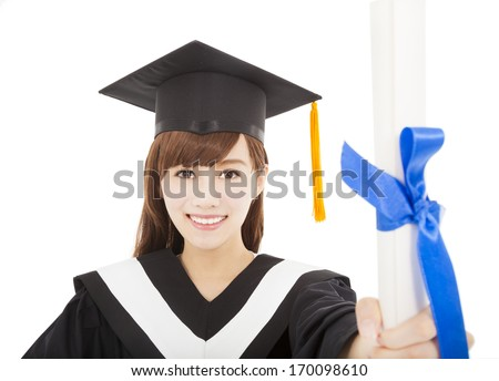 pretty Young graduate girl student holding and showing diploma - stock photo