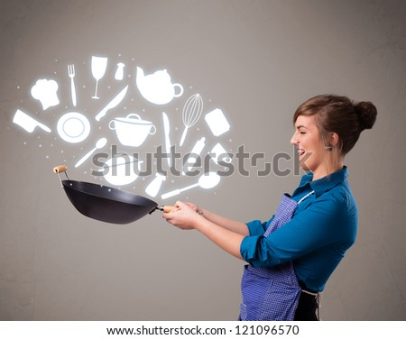Pretty young lady with kitchen accessories icons - stock photo