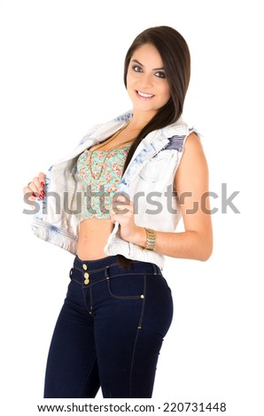 pretty young latin girl posing wearing vest isolated on white