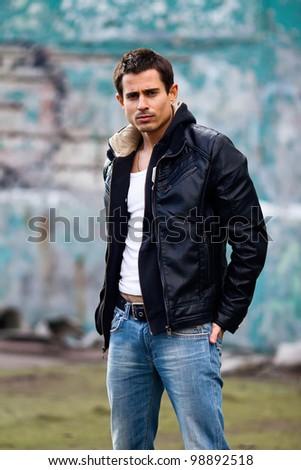 Pretty young man posing , outside shot - stock photo