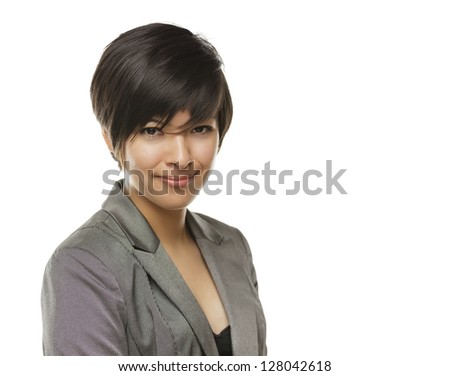 Pretty Young Mixed Race Young Adult Woman Portrait Isolated on a White Background.